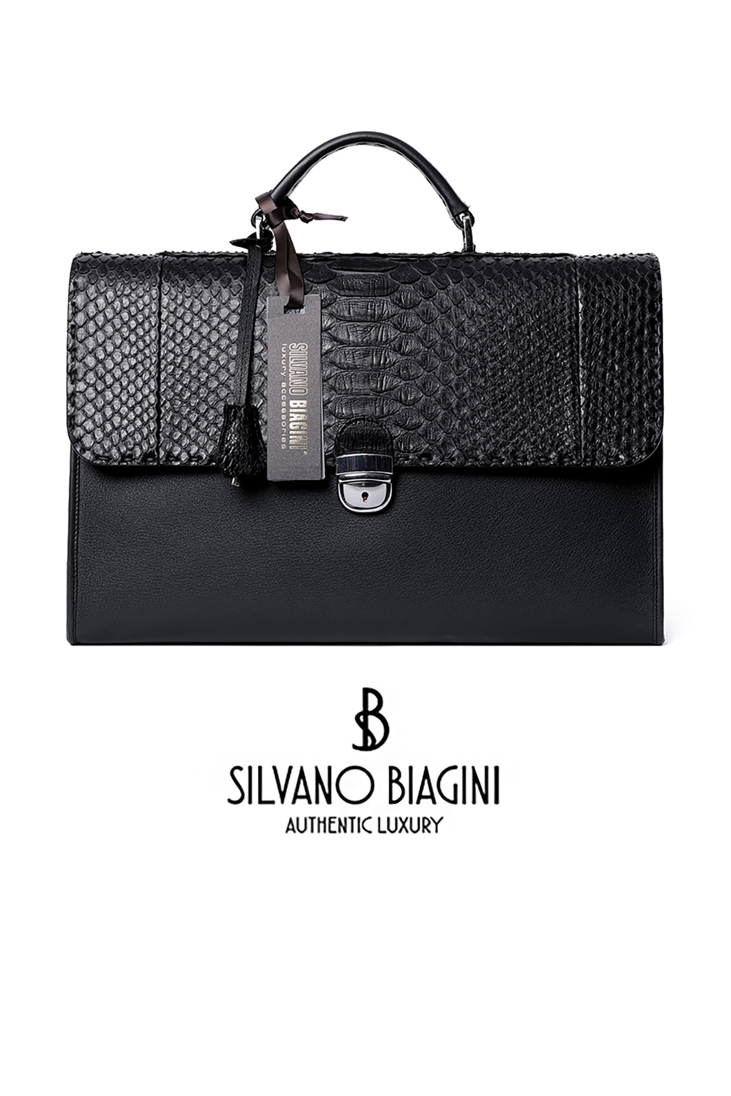 SILVANO BIAGINI PHAETHON BRIEF CASE-BLACKSPECIAL ORDER-MADE IN ITALY