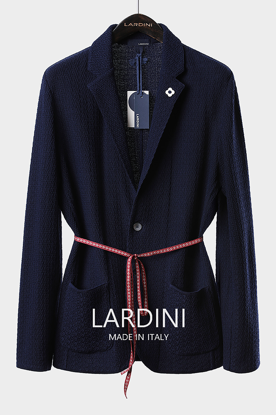 LARDINI SINGLE DIAMOND KNIT JACKET-NAVY[ITALY-Original]-극소량 한정!