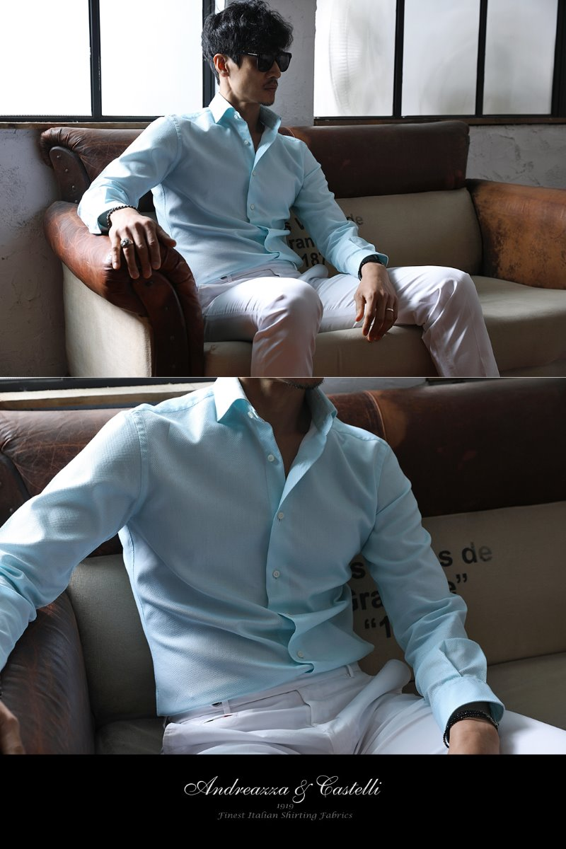 TAKE489 ITALIA Andreazza&Castelli WIDE COLLAR SHIRT-MINT-1/2이상 판매완료-Best Seller!!