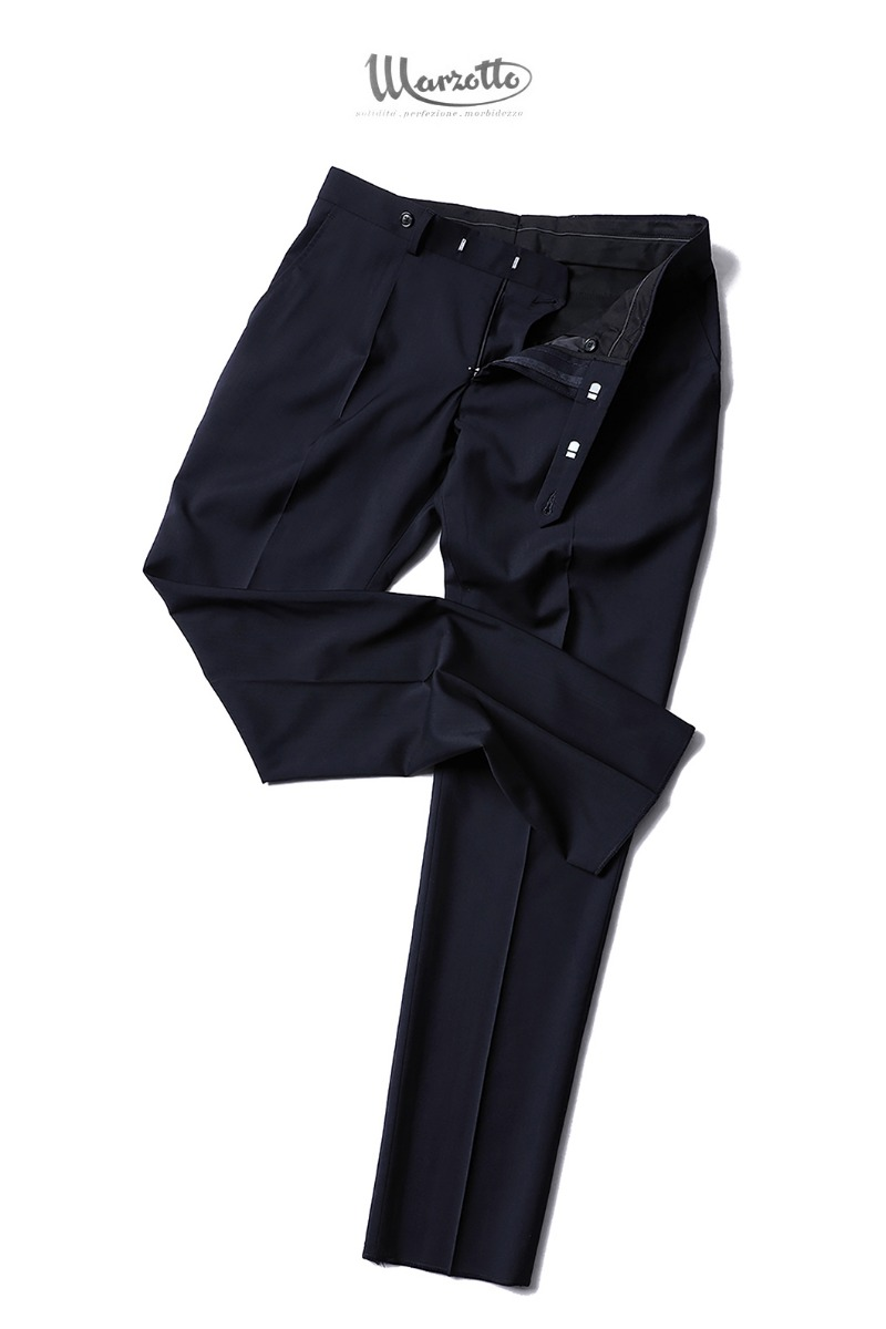 TAKE493 ITALY MARZOTTO ONE TUCK SLACKS PANTS-NAVY-적극추천