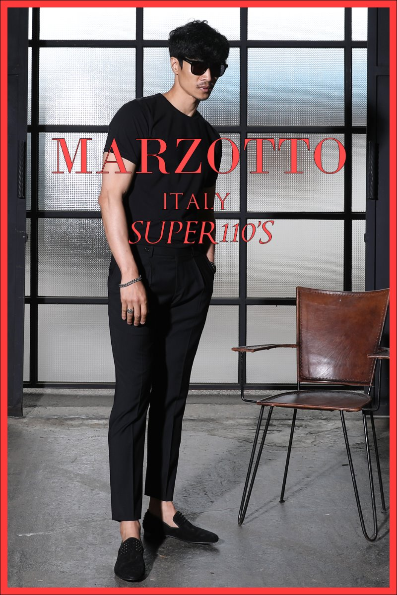 TAKE492 ITALY MARZOTTO ONE TUCK SLACKS PANTS-BLACK-적극추천!-Best Seller!!