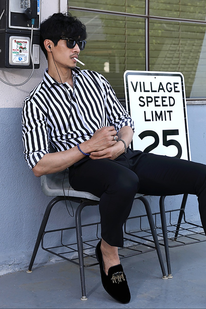 TAKE494 FRENCH LINEN STRIPE SHIRT/BLACK&WHITE-품절임박!!