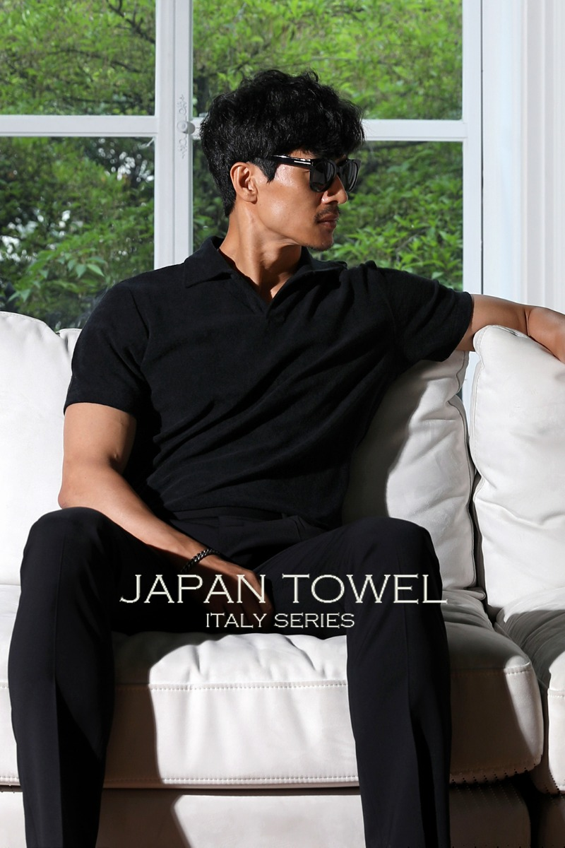 TAKE500 TOWEL FABRIC OPEN COLLAR T-SHIRT-BLACK적극추천-품절임박!